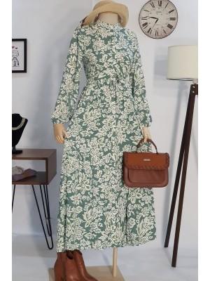 Beli Bağcıklı Elbise -Green