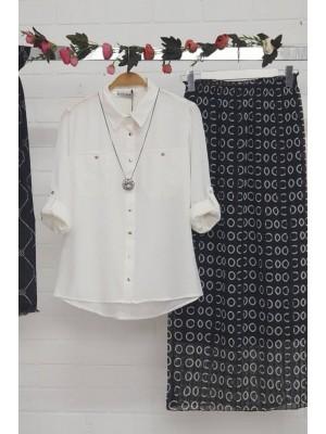Elastic Waist Chiffon Skirt  -Black