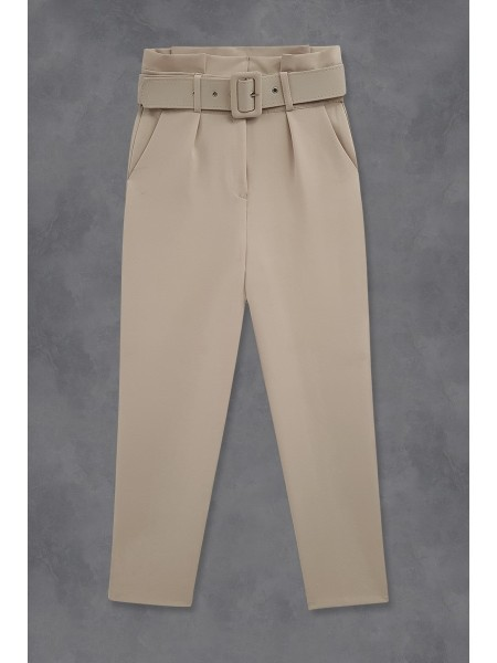 Belted Fabric Trousers   -Powder