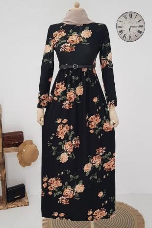Belden Sıkmalı Kemerli Elbise -Siyah