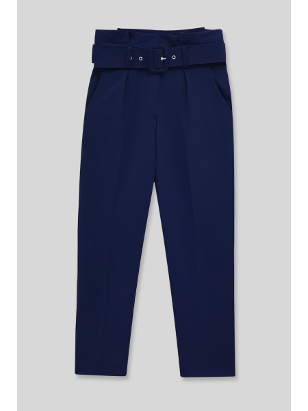 Belted Fabric Trousers  -Navy blue