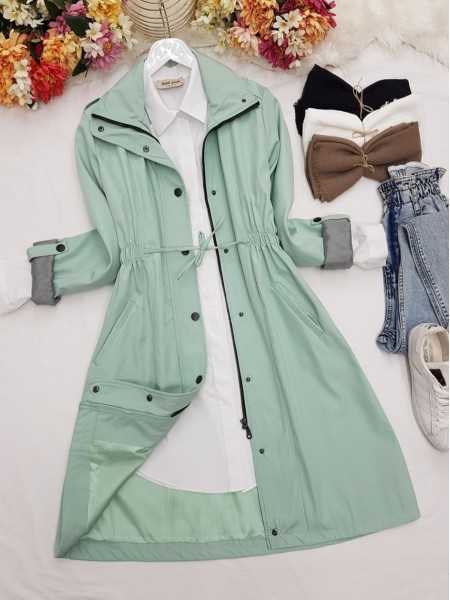 Pleated Waist Lace-up Mid-Length Pocket Trench Coat -Mint Color