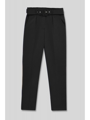 Belted High Waist Trousers -Black