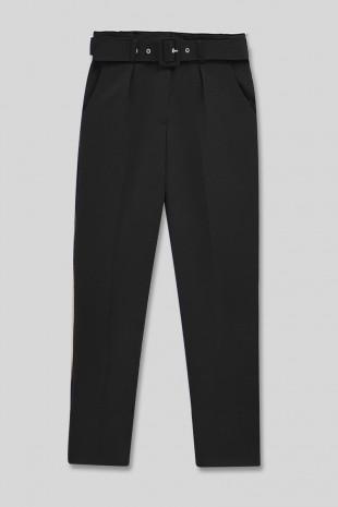 Kemerli Yüksek Bel Pantolon -Siyah