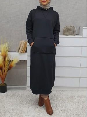 Hooded Kangaroo Pocket Fleece Long Dress -Black