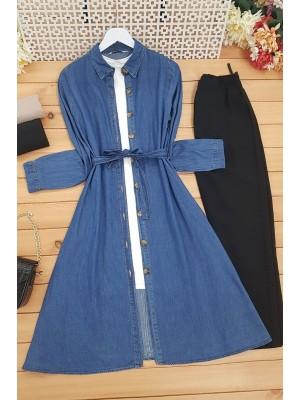 Buttoned Long Denim Tunic with Belt -Dark blue