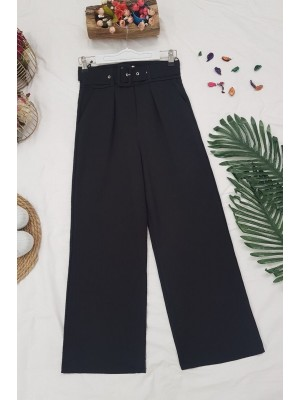Wide Leg Belted Trousers -Black