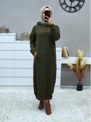 Hooded Kangaroo Pocket Fleece Long Dress -Khaki