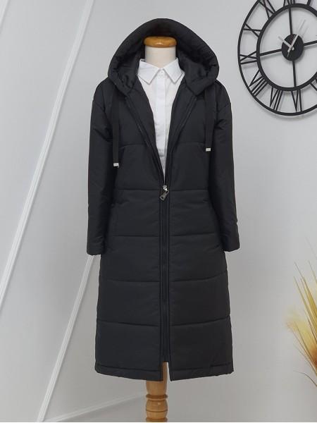 Fixed Hooded Eyelet Detailed Long Coat -Black