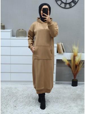 Hooded Kangaroo Pocket Fleece Long Dress -Mink color