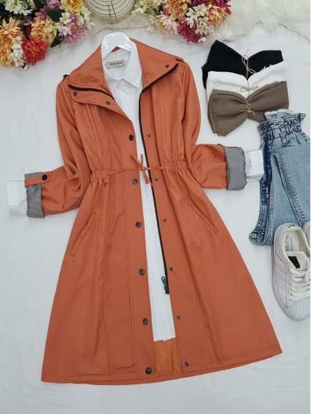 Pleated Waist Lace-up Mid-Length Pocket Trench Coat -Salmon