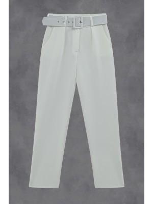 Belted High Waist Trousers -Ecru