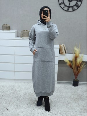 Hooded Kangaroo Pocket Fleece Long Dress -Grey