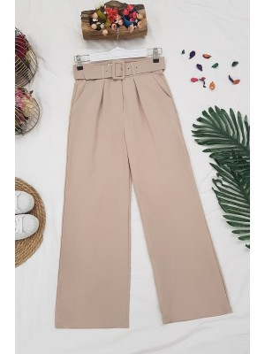 Wide Leg Belted Trousers -Powder