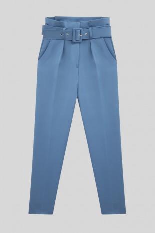 Kemerli Kumaş Pantolon    -Mavi