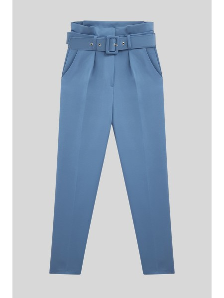 Belted Fabric Trousers    -Blue