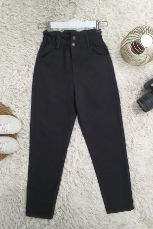 Beli Lastikli Yüksel Bel Kot Pantolon  -Siyah