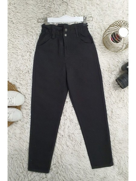 High Waist Jeans With Elastic Waist  -Black