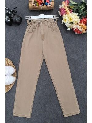 High Waist Jeans With Elastic Waist - Soil