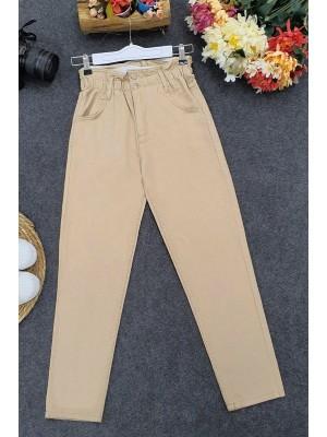 High Waist Jeans With Elastic Waist -Mink color
