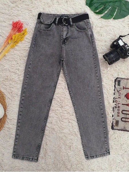 Metal Buckled Belt Snap Detailed Jeans -Smoked