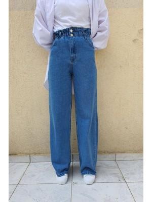 Elastic Waist Double Buttoned Wide Leg Jeans -Blue