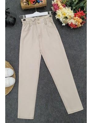 High Waist Jeans With Elastic Waist - Beige