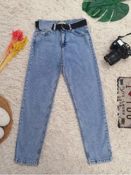 Metal Buckled Belt Snap Detailed Jeans -Light blue