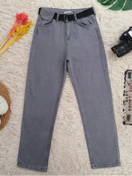 Metal Buckled Belt Snap Detailed Jeans -Grey
