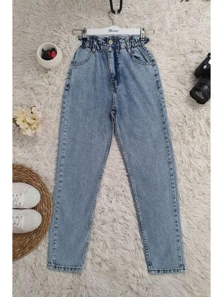 High Waist Jeans With Elastic Waist -Ice Blue