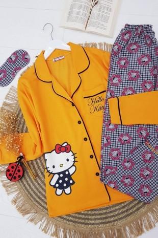 Hello Kitty Pijama Takım-Hardal