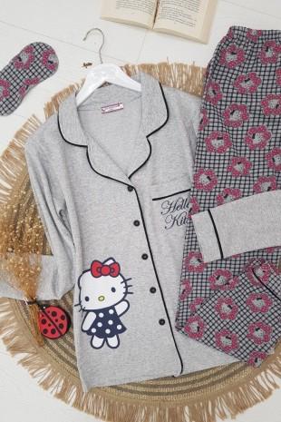 Hello Kitty Pijama Takım-Gri