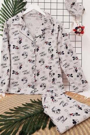Mickey Detaylı Pijama Takım -Gri