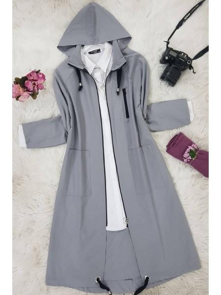 Bag Pocket Parka Cap -Grey
