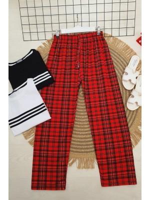 Ekoseli Beli Bağcıklı Pijama -Kırmızı