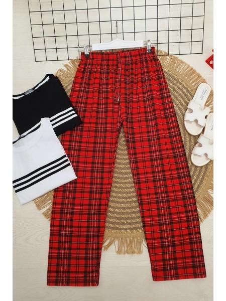 Ekoseli Beli Bağcıklı Pijama -Red