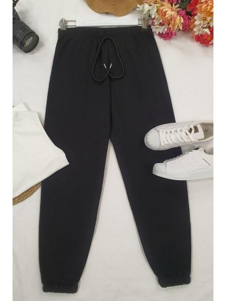 Lace-Up Waist Sweatpants -Black