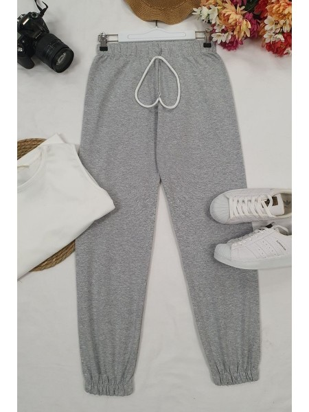 Lace-Up Waist Sweatpants -Grey