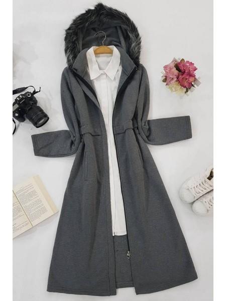 Hooded Three Thread Cape-Grey