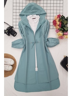Hooded Zippered Lace-up Trench Coat -Mint Color
