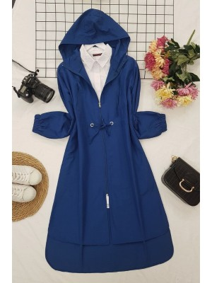 Hooded Zippered Lace-up Trench Coat -Navy blue