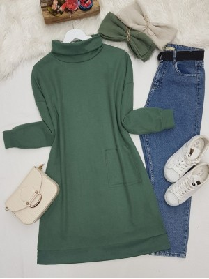 Turtleneck Bag Pocket Tunic   -Emerald