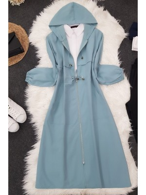 Top Double Layer Hooded Coat -Mint Color