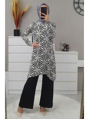 Flower Patterned Suit -Black