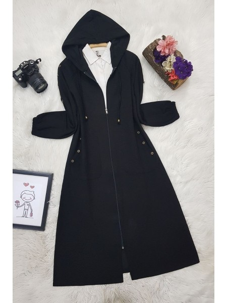 Button Detailed Hooded Cape -Black