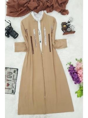 Zipper Sequined Cape -Mink color
