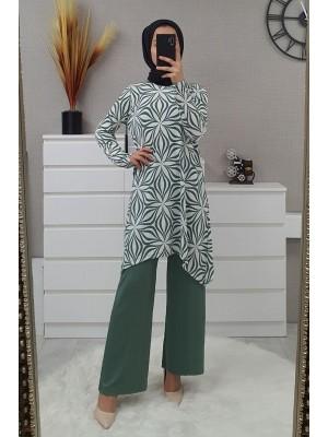 Flower Patterned Suit -Mint Color