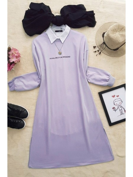 Printed Combed Cotton Tunic -Lilac
