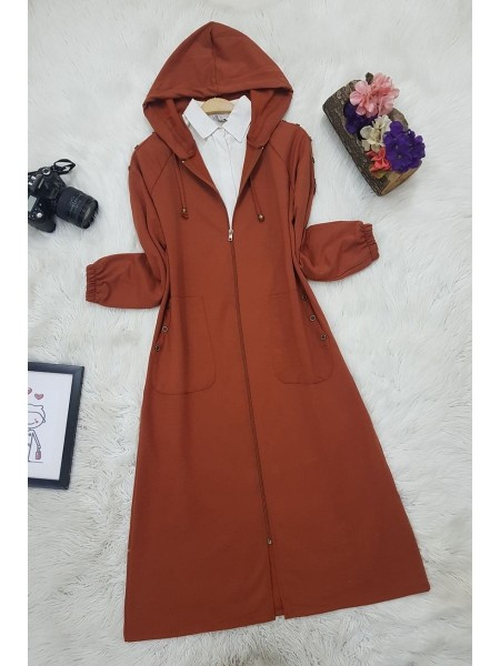 Button Detailed Hooded Cape -Brick color