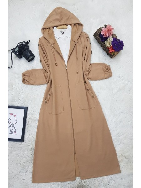 Button Detailed Hooded Cape -Mink color